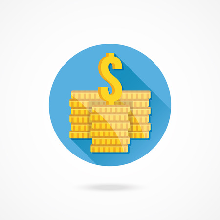 withdraw: Vector Coin Stacks and Dollar Sign Icon