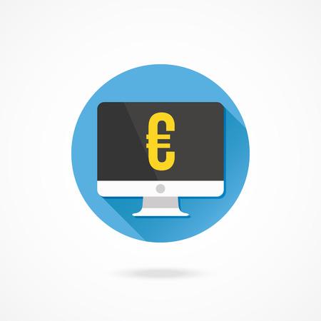 euro teken: Vector Computer Display and Euro Sign Icon