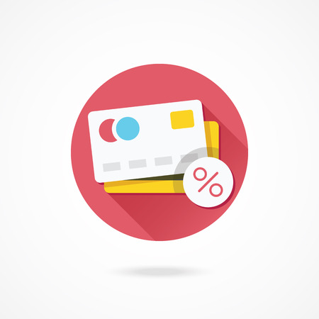mastercard: Vector Credit Card and Percent Sign Icon Illustration