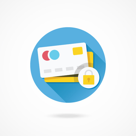 web scam: Vector Credit Card Protection Concept Icon Illustration
