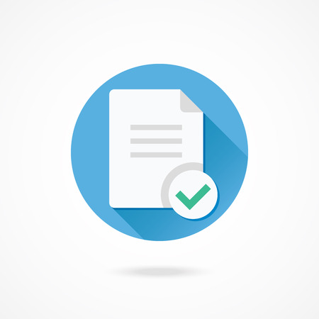 confirm confirmation: Vector Document and Check Mark Icon Illustration