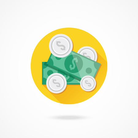 fee: Vector Dollar Bills and Coins Icon Illustration