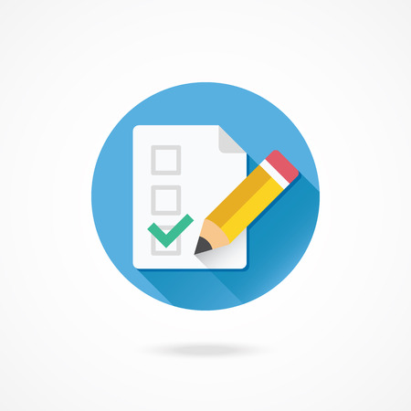 Vector Form Pencil and Tick Icon Illustration