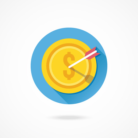 Vector Gold Coin and Arrow Icon Successful Business Concept Vector