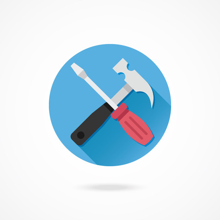 Vector Hammer and Screwdriver Icon Vector