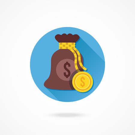 knotted rope: Vector Money Bag and Gold Coin Icon Illustration