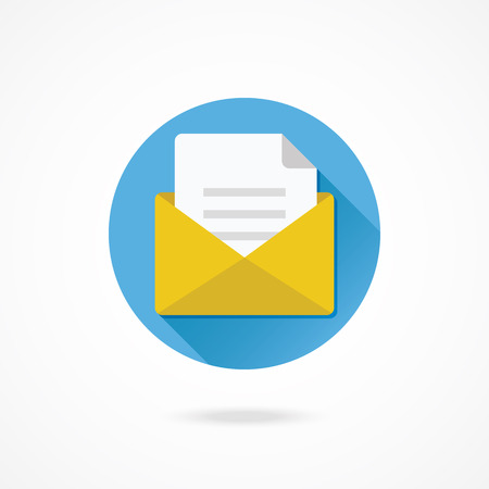 Vector Opened Envelope with Document Icon Illustration