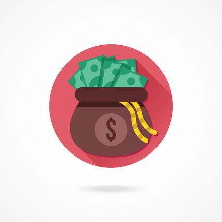 Vector Opened Money Bag Full of Money Icon
