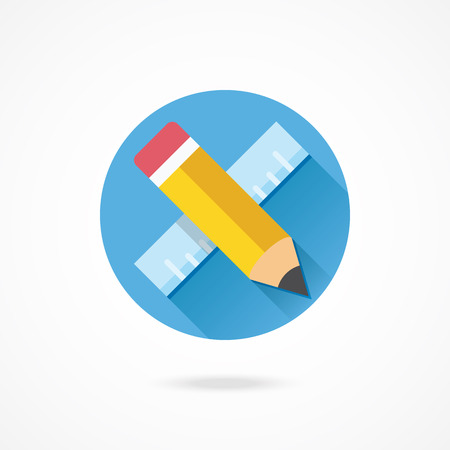 Vector Pencil and Ruler Icon Vector