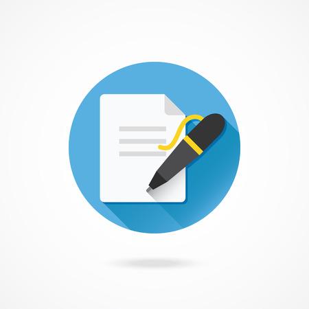 Vecteur Pen et Document Icône Banque d'images - 27389877
