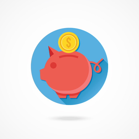 thrift box: Vector Piggy Bank and Gold Coin Icon