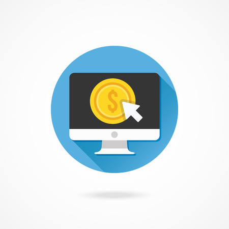 cpl: Vector Computer Display Pay per Click Icon