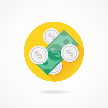 wage: Vector Dollar Bill and Coins Icon Illustration