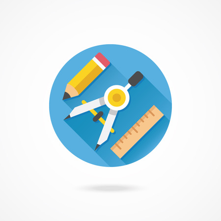 Vector Drawing Compass Pencil and Ruler Icon Web Design Concept Vector