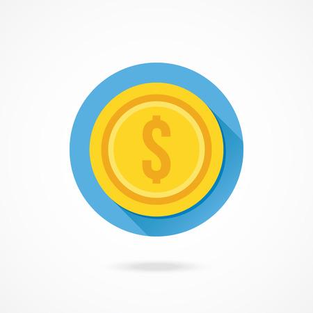 Vector Gold Coin Dollar Icon Illustration