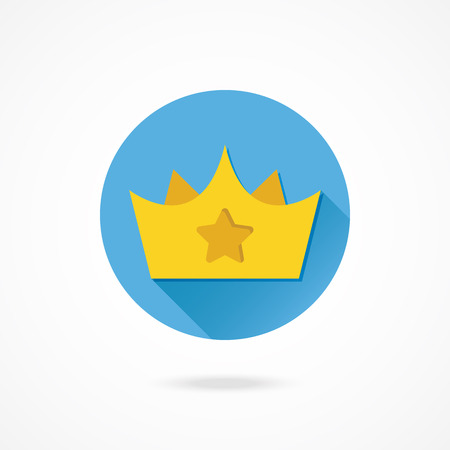 corona: Vector Gold Crown with Star Sign Icon