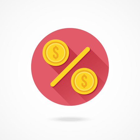 proceeds: Vector Gold Percent Sign Icon