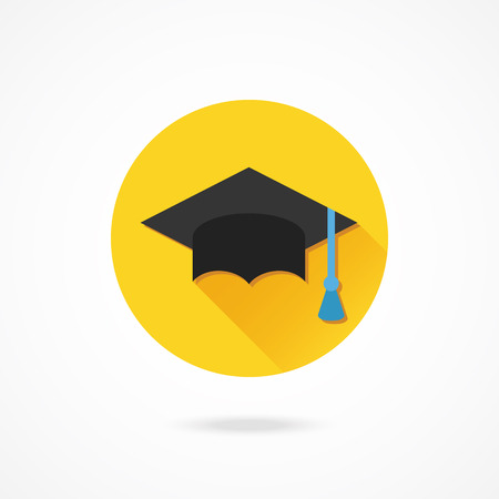 flat cap: Vector Graduation Cap Icon Illustration