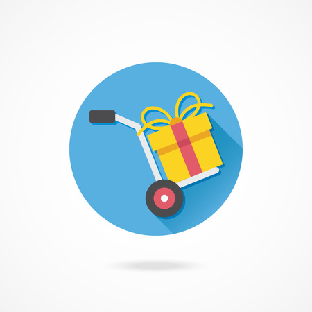 hand truck: Vector Hand Truck and Gift Box Icon Gift with Delivery Concept