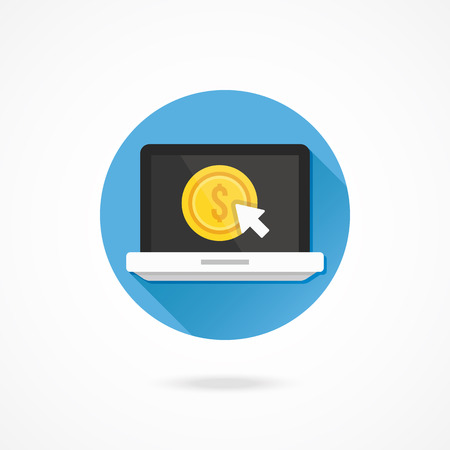 Vector Laptop Pay per Click Icon Vector