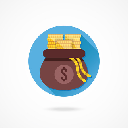 opened bag: Vector Opened Money Bag Full of Gold Coin Stacks Icon Illustration