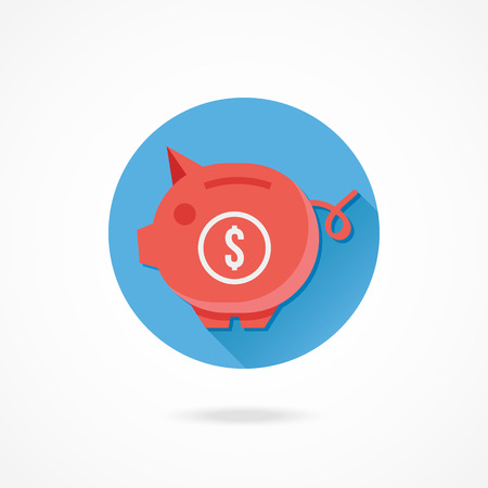 thrift box: Vector Piggy Bank and Dollar Sign Icon Savings Concept