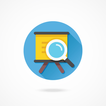 Vector Presentation Board and Magnifying Glass Icon Vector
