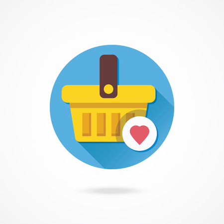 favourite: Vector Shopping Basket and Heart Shape Icon Favorite Goods Concept Illustration