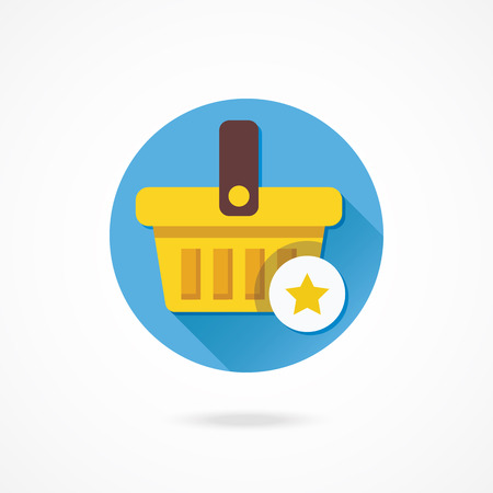 Vector Shopping Basket and Star Sign Icon Vector