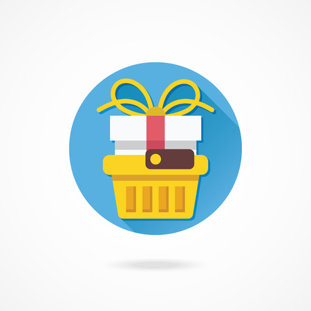 gift basket: Vector Shopping Basket with Gift Box Icon Illustration