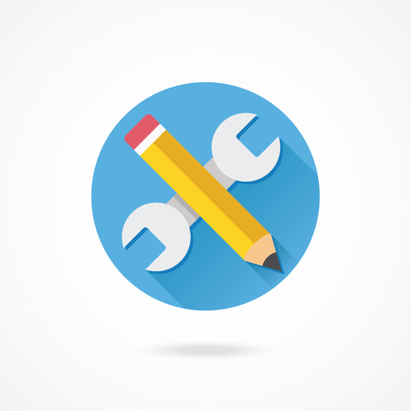 pencil symbol: Vector Wrench and Pencil Icon Web Development Concept Illustration