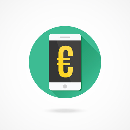 Vector Smartphone and Euro Sign Icon Vector