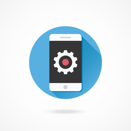 Vector Smartphone and Gear Icon Settings or Mobile Development Concept Illustration