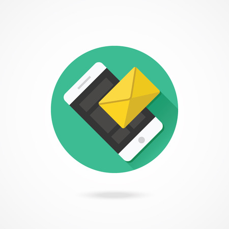 sms: Vector Smartphone Email or SMS Icon Illustration