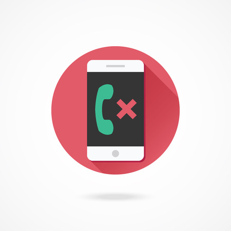 missed: Vector Smartphone Missed Call Icon Illustration