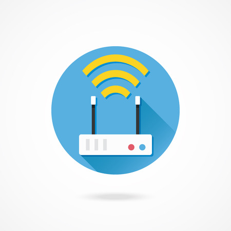 ethernet cable: Vector Wireless Network Router Icon Illustration