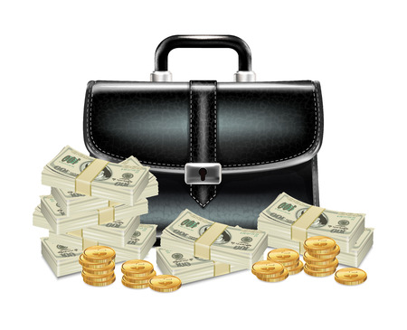 suit case: Black Business Case with Money