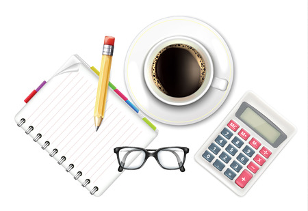 Coffee Cup and Notebook Calculator Vector