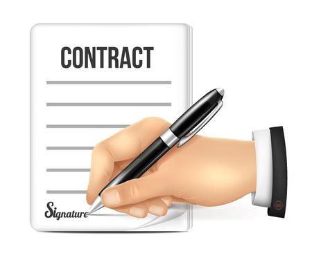 contrato de trabajo: Mano firma un contrato