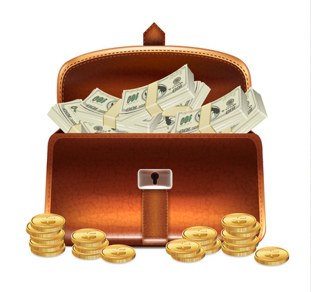 business case: Open Business Case with Money Illustration