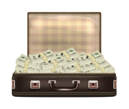 suit case: Open Suitcase with Money Illustration