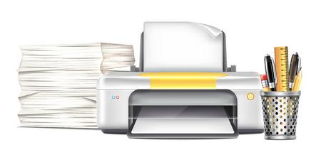 laser printer: Workplace with Printer Illustration