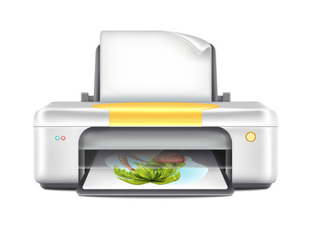 Printer With Color Images Vector