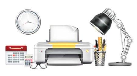 Workplace with Printer Vector