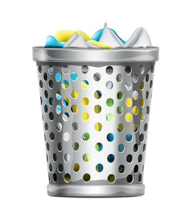 Trash Bin with Garbage Illustration