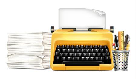 typewriter machine: Workplace with Typewriter Illustration