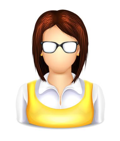 web developer: User Woman with Glasses Icon Illustration