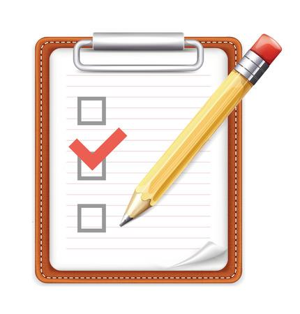 Vektor-Formular mit Bleistift und Checklisten-Icon