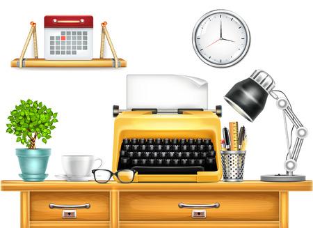 Arbeitsplatz mit Schreibmaschine