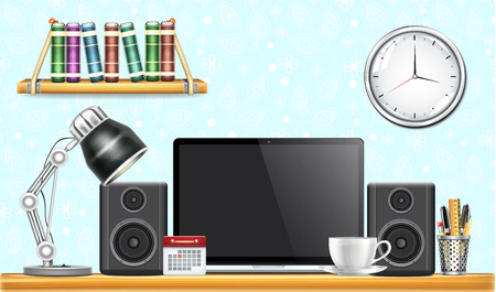 speakers desk: Workplace with Laptop